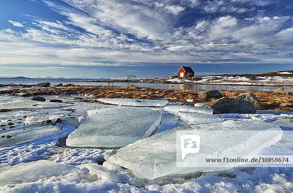 Winterlandschaft an der Küste  Senja  Troms  Norwegen  Europa