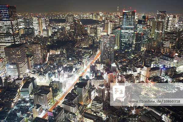 Cityscape view with skyscrapers and city lights at night  Tokyo  Japan