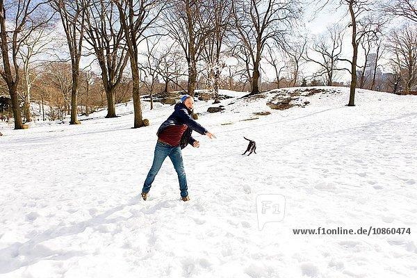 Junger Mann spielt mit Hund im verschneiten Central Park  New York  USA