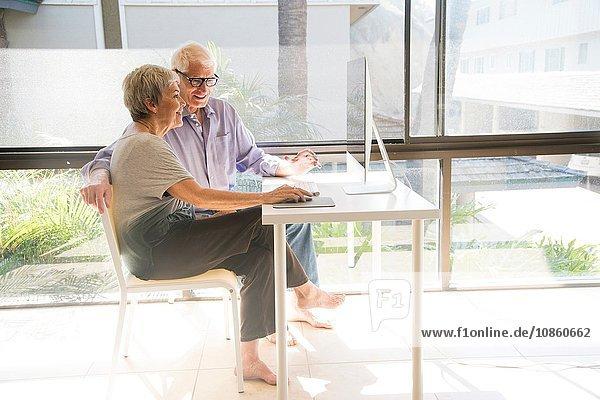Älteres Ehepaar  das einen Computer benutzt und auf einen Computerbildschirm schaut