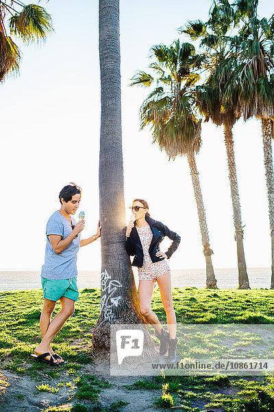 Junges Paar lehnt an sonnenbeschienener Palme und isst Eistüten  Venice Beach  Kalifornien  USA