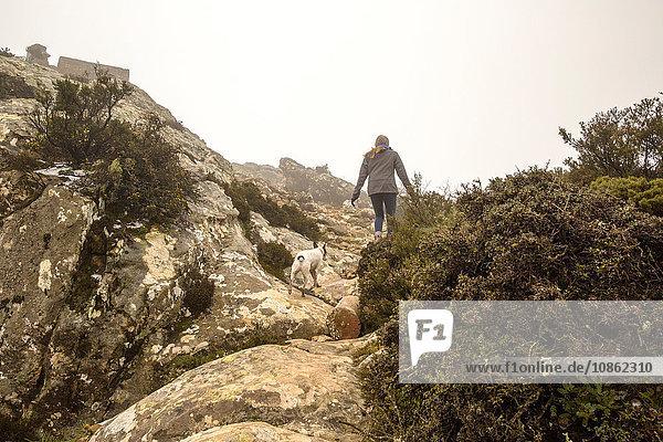 Rückansicht einer Wanderin und ihres Hundes beim Wandern in nebligen Bergen  Spanien