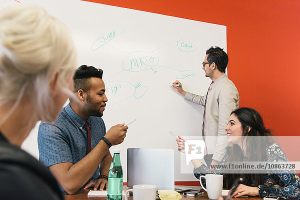 Colleagues in office brainstorming with whiteboard
