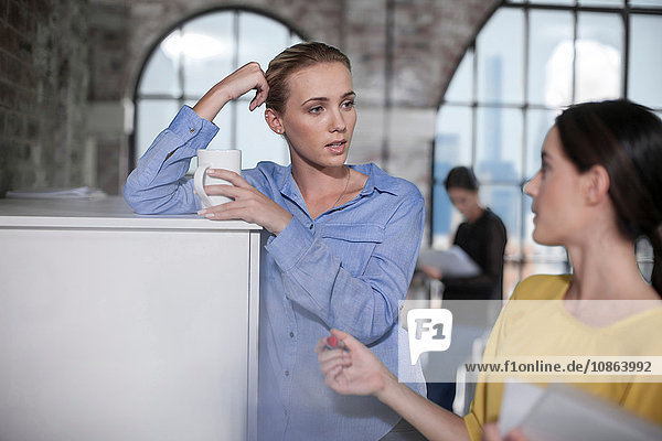 Female manager and worker having discussion in office