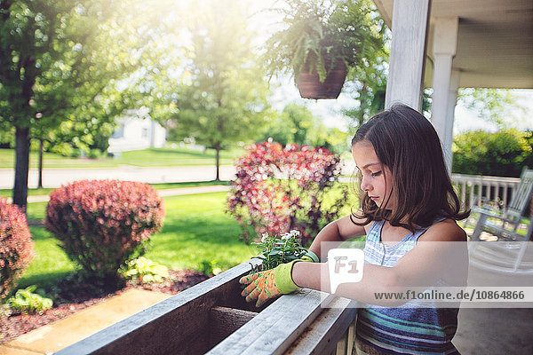 Girl planting flowers in planter box