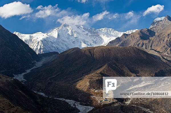 Snowy mountains overlooking valley