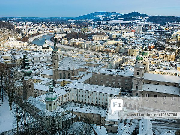 Winter snow in Salzburg  Austria