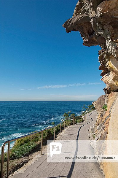 Path running along the cliffs at Bronte Beach  Sydney  New South Wales  Australia