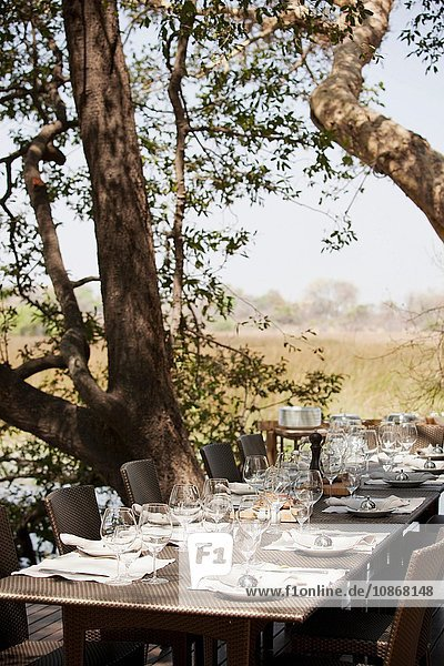 A lunch table is set at Abu Camp  a luxury safari camp in the Okavango Delta  Botswana