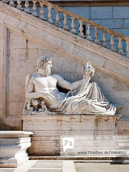 Sculpture at the Piazza Del Campidoglio  Rome  Italy.