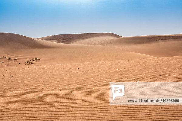 Leere Wüstenlandschaft und blauer Himmel  Dubai  Vereinigte Arabische Emirate