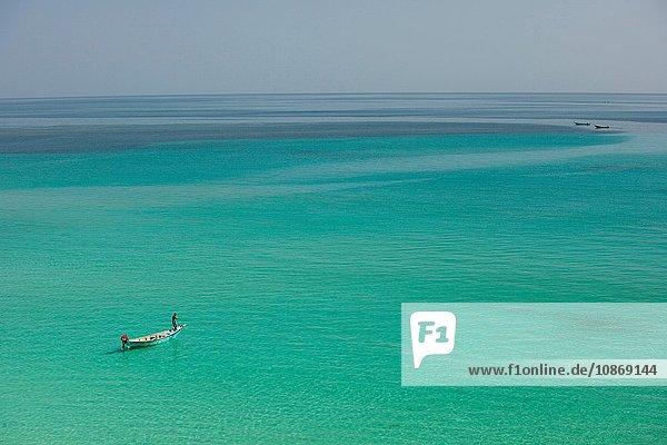 Fisherman in the shallows near Hadibu  Socotra  Yemen