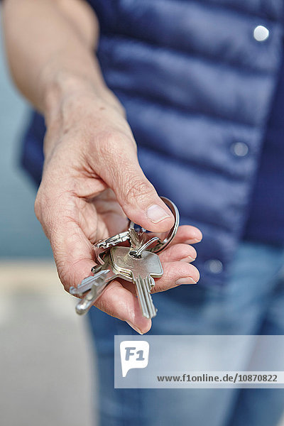 Womans hand holding bunch of keys