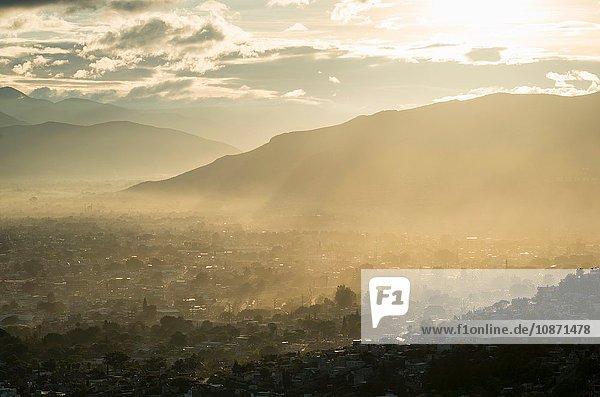 View over Monte Alban at dawn  Oaxaca  Mexico