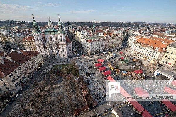 Blick vom Altstädter Rathaus (Uhrenturm)  Prag  Tschechische Republik