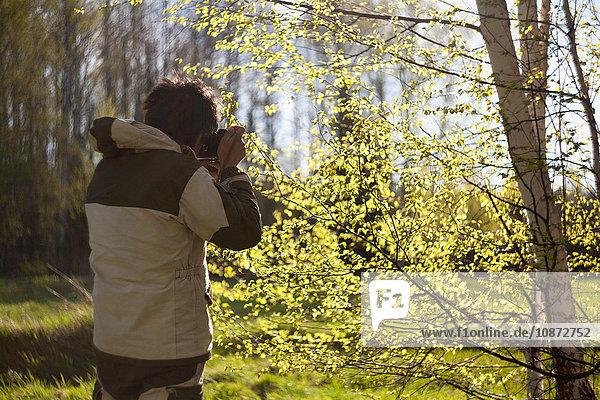 Rückansicht eines Mannes  der einen sonnenbeschienenen Wald fotografiert