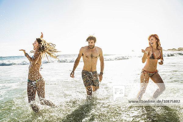 Drei erwachsene Freunde in Bikini und Badehose im Meer plantschend  Kapstadt  Südafrika