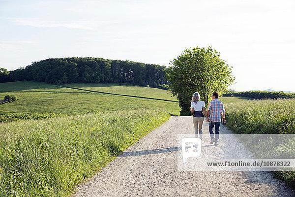 Rückansicht eines erwachsenen Paares beim Spaziergang auf dem Feldweg