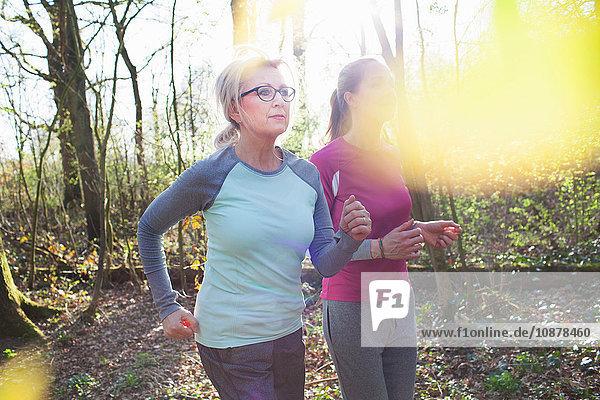 Women jogging in forest