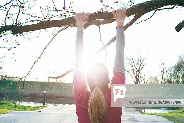 Rear view of woman doing chin ups on tree branch