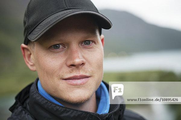 Norway  Jotunheimen  Bovertun  Portrait of mid adult man