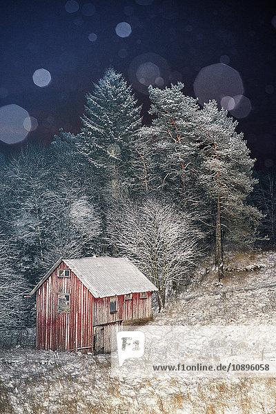 Schweden  Vastergotland  Sandared  Holzhütte im Winter