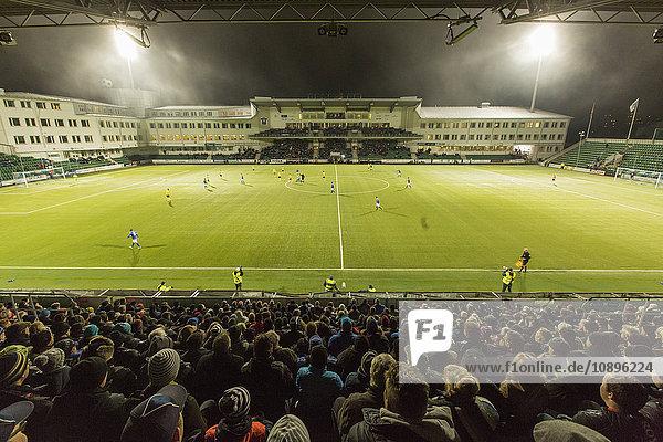 Schweden  Medelpad  Sundsvall  Stadion bei Nacht