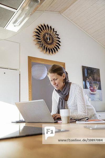 Schweden  Reife Frau  die zu Hause arbeitet