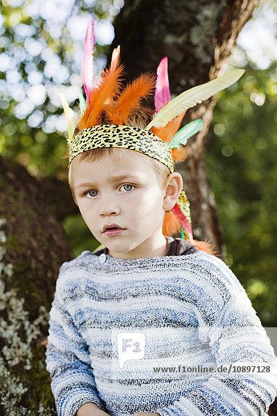 Sweden  Sodermanland  Strangnas  Portrait of boy (4-5) wearing plume