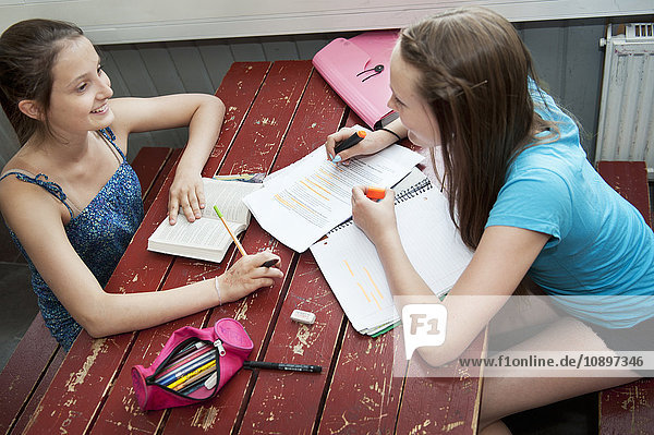 Two girls (14-15) sitting at table  studying