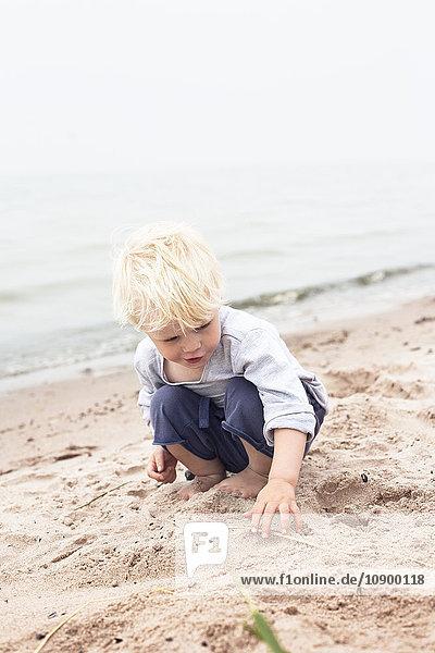Sweden  Gotland  Ljugarn  Boy (4-5) playing o beach