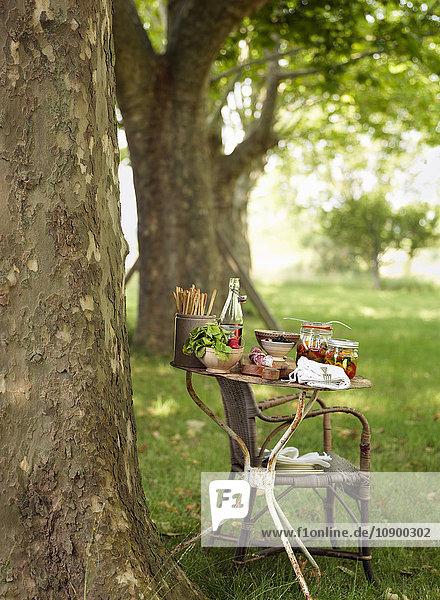 Schweden  Vastergotland  Flasche Sirup und eingelegtes Gemüse auf dem Tisch