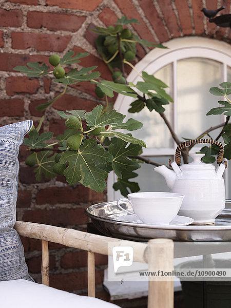 Schweden  Vastergotland  Teekanne auf Tablett