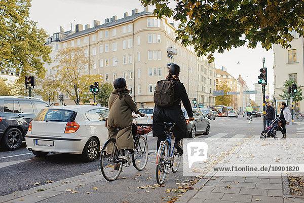 Schweden  Uppland  Stockholm  Vasatan  Torsgatan  Mann und Frau radeln auf der Stadtstraße