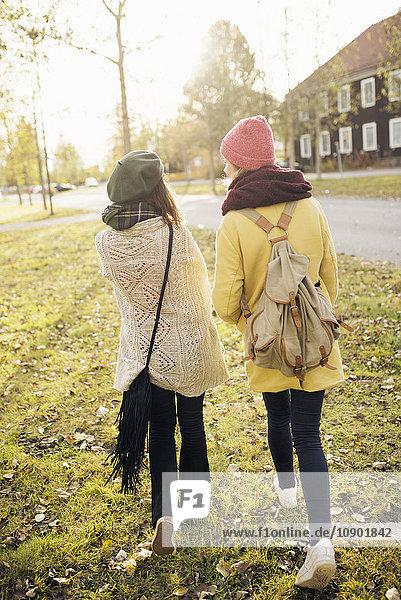 Schweden  Vasterbotten  Umea  Rückansicht zweier junger Frauen beim Gehen