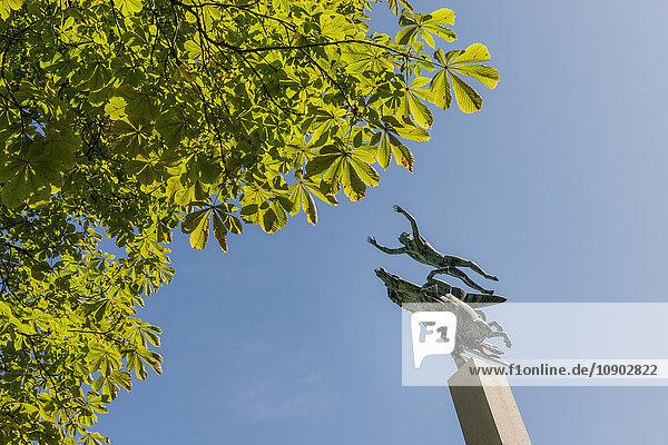 Schweden  Skane  Malmö  Tiefblick auf die Pegasus-Statue gegen den klaren Himmel im Kungsparken