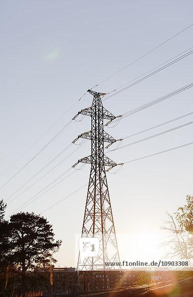 Finnland  Uusimaa  Helsinki  Kalasatama  Blick auf den Strommast bei Sonnenschein
