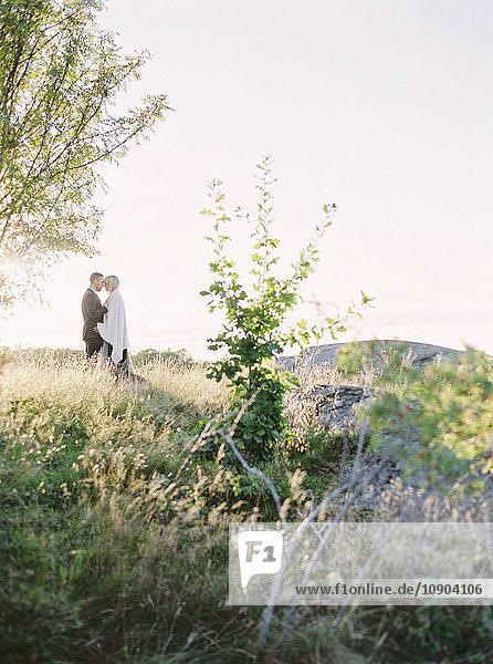 Schweden  Braut und Bräutigam stehen von Angesicht zu Angesicht im Gras