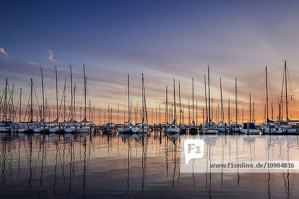 Schweden  Vastra Gotaland  Göteborg  Yachten im Hafen bei Sonnenuntergang