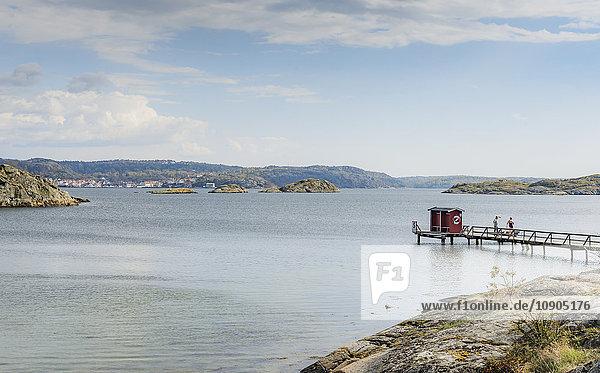 Sweden  West Coast  Bohuslan  Grundsund  Raggardsvik  Bay of water with pier