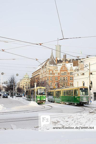 Finnland  Helsinki  Mannerheimintie  Straßenbahnen im Winter
