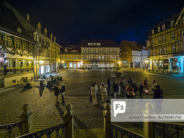 Germany  Saxony-Anhalt  Wernigerode  Market place at night