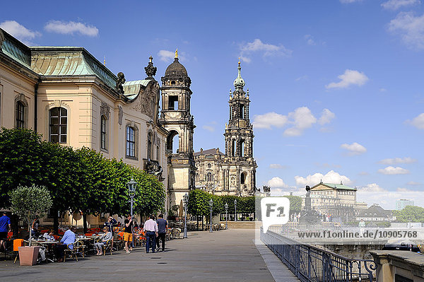 Germany  Saxony  Dresden  Bruehl's Terrace  Sekundogenitur and Dresden Cathedral