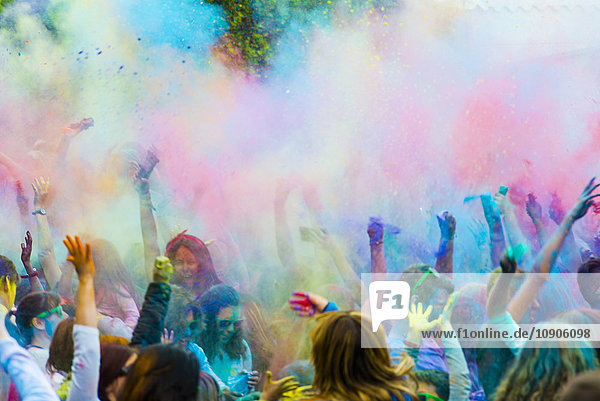 Spain  people celebrating Holi Festival