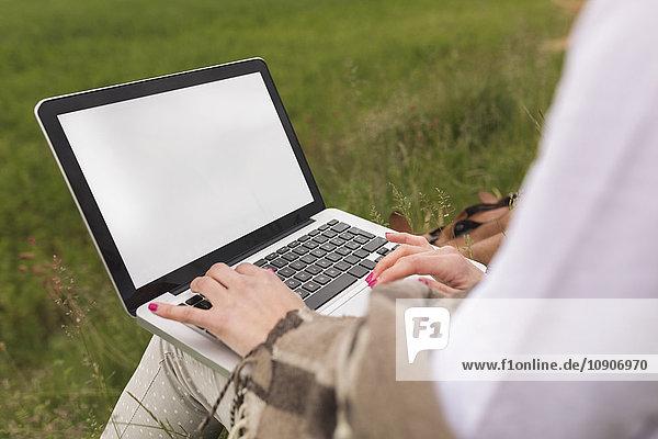 Frau mit Laptop auf der Wiese  Teilansicht