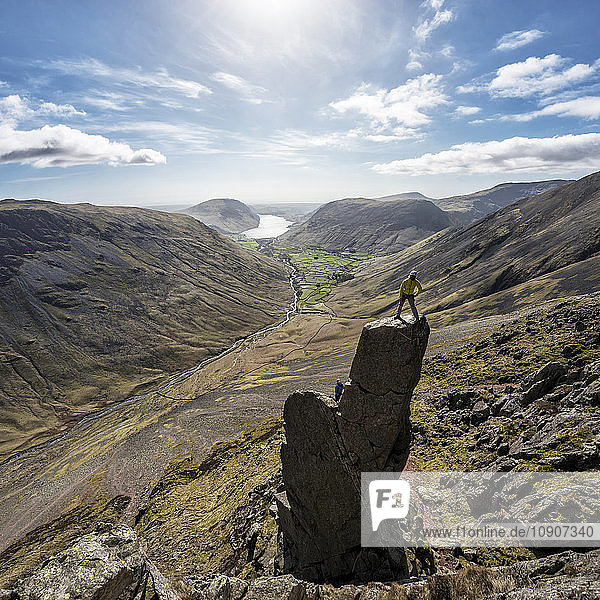 England,  Cumbria,  Lake District,  Wasdale Valley,  Wastwater,  Great Gable,  Napes Needle,  climbers