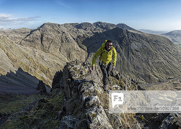 England  Cumbria  Lake District  Wasdale Valley  Great Gable  climber