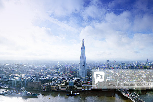 UK  London  cityscape with River Thames and The Shard
