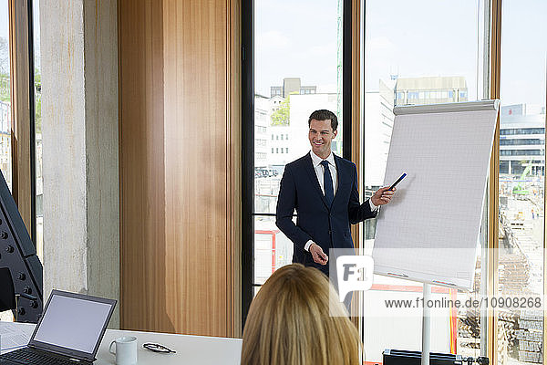 Businessman leading a presentation at flip chart