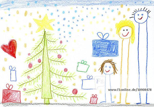 Kinderzeichnung  glückliche Familie  Weihnachtsbaum und Geschenke